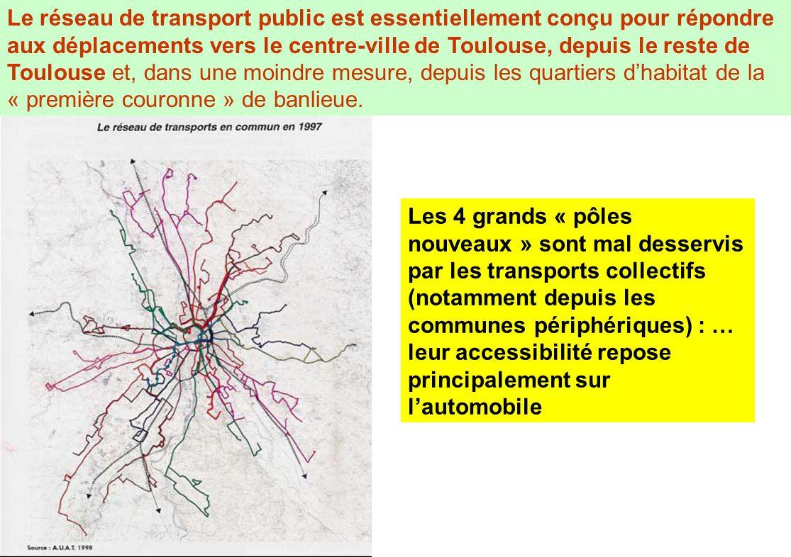Les 4 grands « pôles nouveaux » sont mal desservis par les transports collectifs (notamment depuis les communes périphériques) : … leur accessibilité
