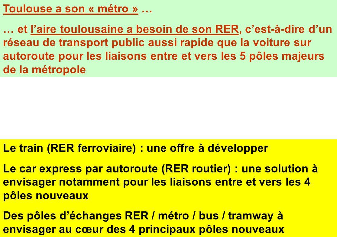 Toulouse a son « métro » … … et laire toulousaine a besoin de son RER, cest-à-dire dun réseau de transport public aussi rapide que la voiture sur auto