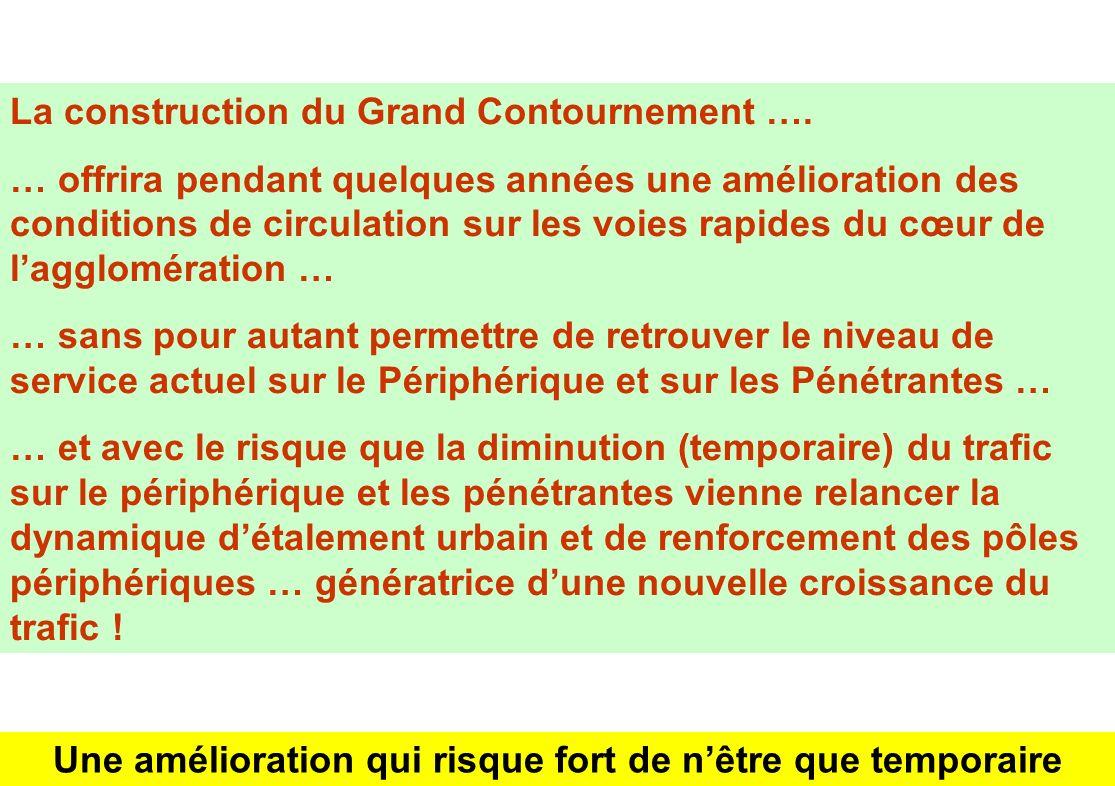 La construction du Grand Contournement …. … offrira pendant quelques années une amélioration des conditions de circulation sur les voies rapides du cœ