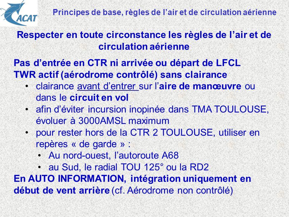 Principes de base, règles de lair et de circulation aérienne Pas dentrée en CTR ni arrivée ou départ de LFCL TWR actif (aérodrome contrôlé) sans clair