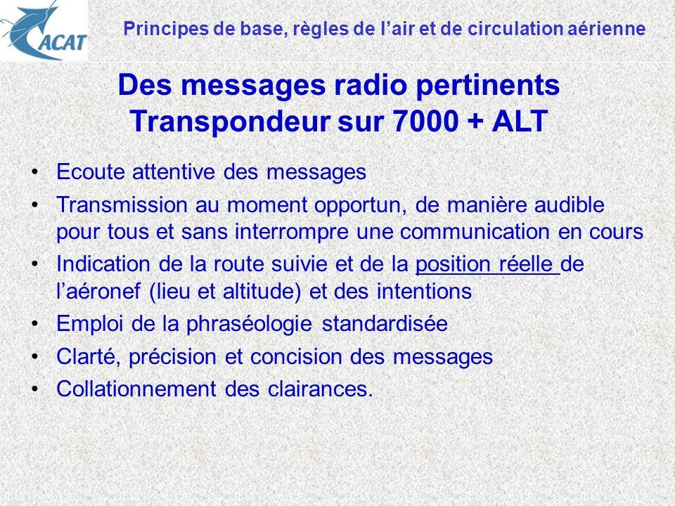 Principes de base, règles de lair et de circulation aérienne Ecoute attentive des messages Transmission au moment opportun, de manière audible pour to