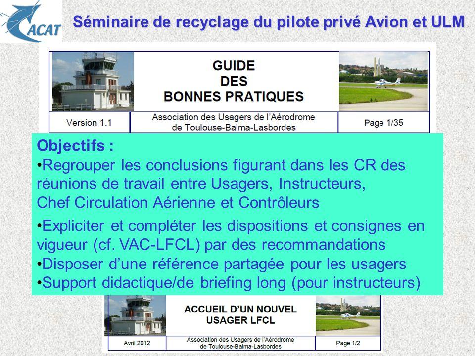 Séminaire de recyclage du pilote privé Avion et ULM Objectifs : Regrouper les conclusions figurant dans les CR des réunions de travail entre Usagers,