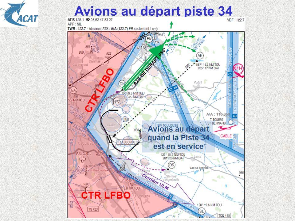 Avions au départ piste 34