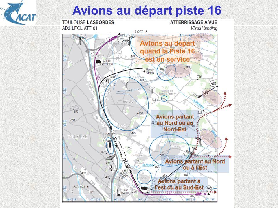 Avions au départ piste 16