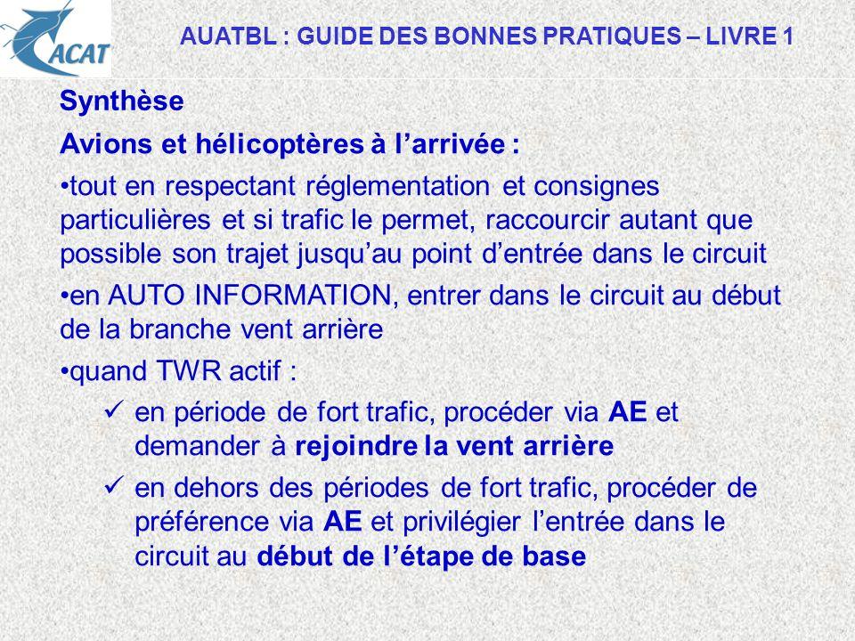 AUATBL : GUIDE DES BONNES PRATIQUES – LIVRE 1 Synthèse Avions et hélicoptères à larrivée : tout en respectant réglementation et consignes particulière