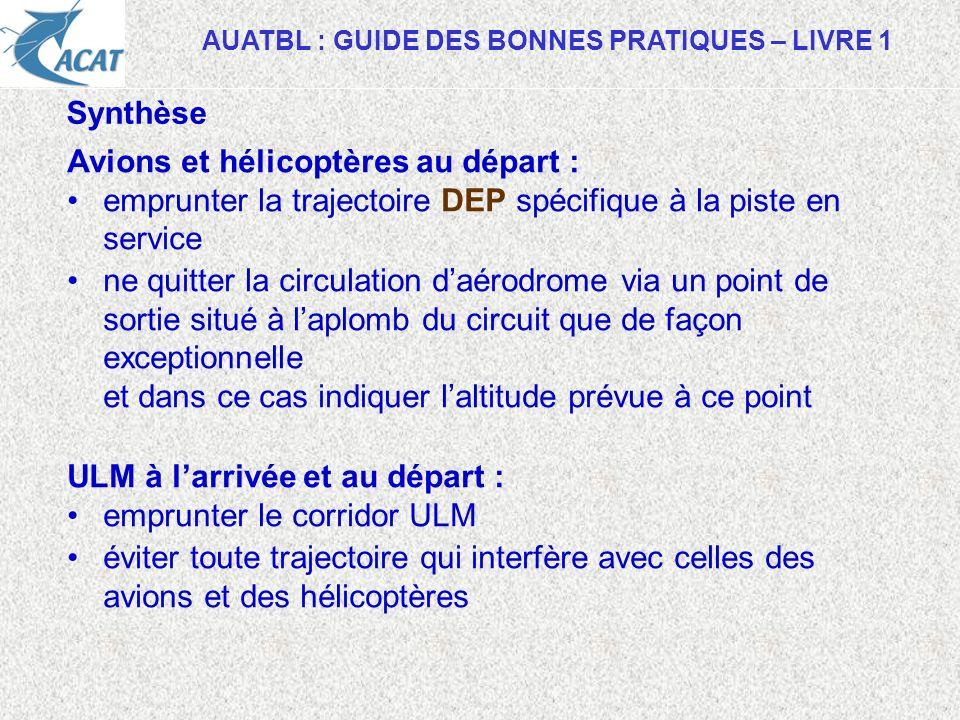 AUATBL : GUIDE DES BONNES PRATIQUES – LIVRE 1 Synthèse Avions et hélicoptères au départ : emprunter la trajectoire DEP spécifique à la piste en servic