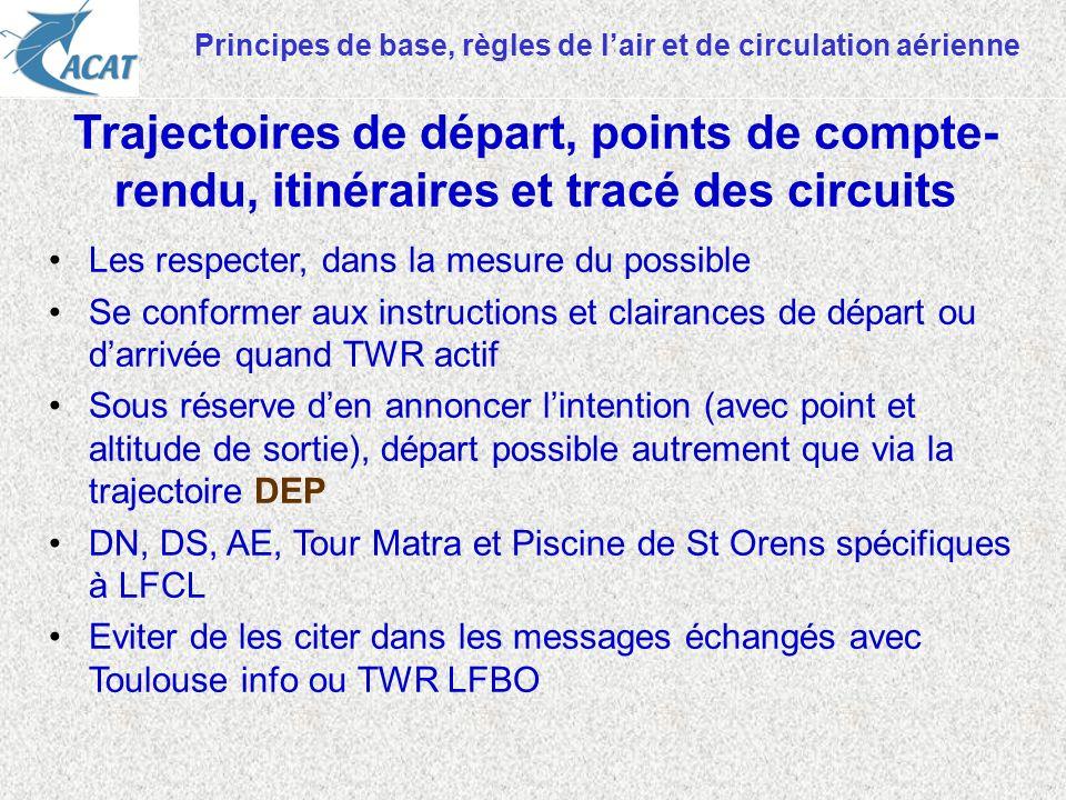Principes de base, règles de lair et de circulation aérienne Les respecter, dans la mesure du possible Se conformer aux instructions et clairances de