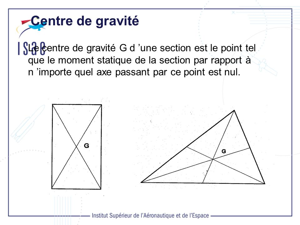 Moment Statique Le moment statique S dune section par rapport à un axe est égal au produit de l aire de la section par la distance entre son centre de