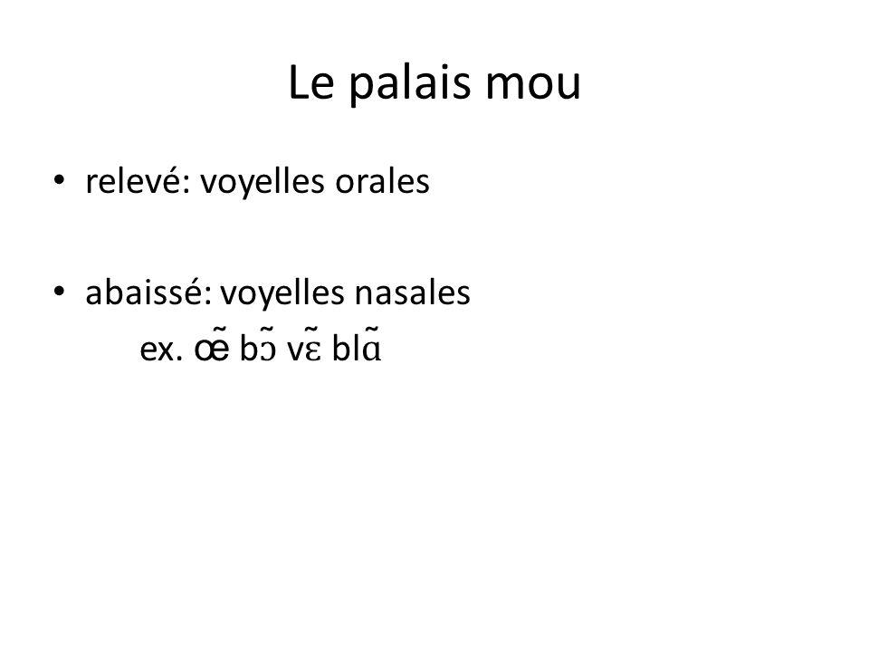 Le palais mou relevé: voyelles orales abaissé: voyelles nasales ex. œ̃ bɔ̃ vɛ̃ blɑ̃