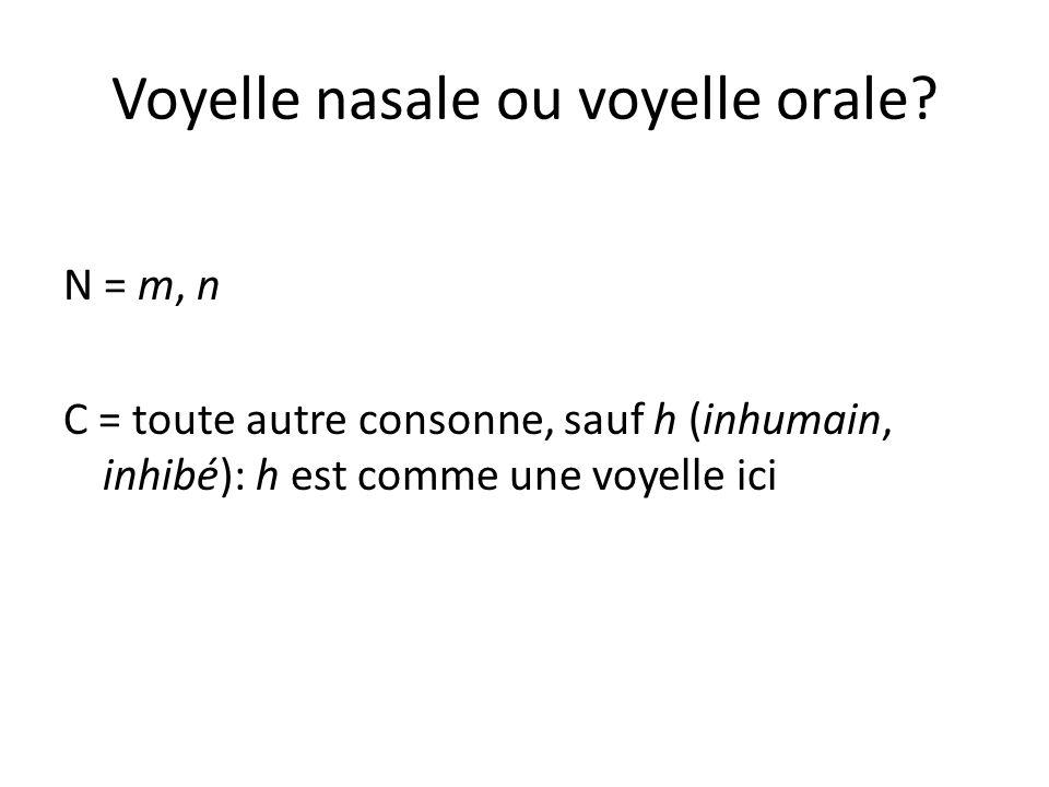 Voyelle nasale ou voyelle orale? N = m, n C = toute autre consonne, sauf h (inhumain, inhibé): h est comme une voyelle ici