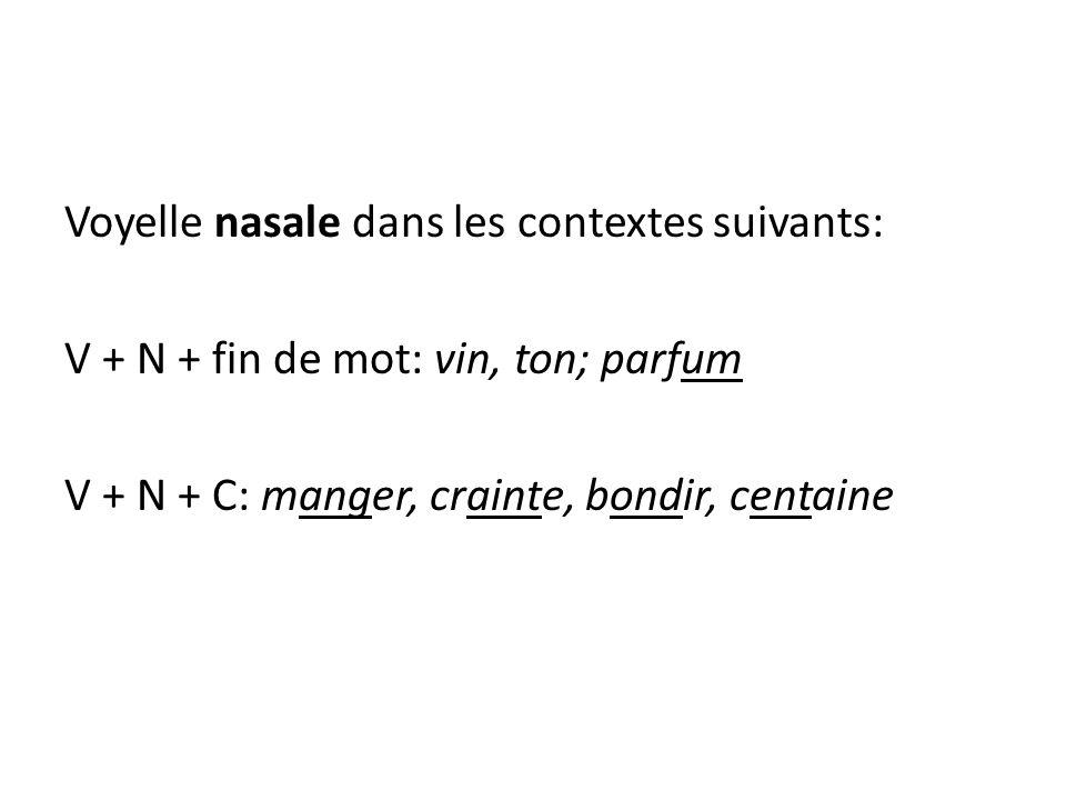 Voyelle nasale dans les contextes suivants: V + N + fin de mot: vin, ton; parfum V + N + C: manger, crainte, bondir, centaine