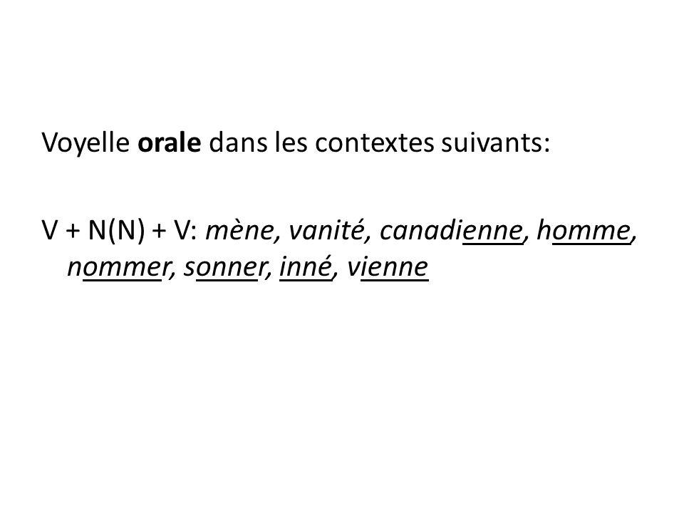 Voyelle orale dans les contextes suivants: V + N(N) + V: mène, vanité, canadienne, homme, nommer, sonner, inné, vienne