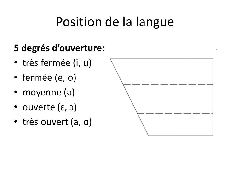 Position de la langue 5 degrés douverture: très fermée (i, u) fermée (e, o) moyenne (ə) ouverte (ɛ, ɔ) très ouvert (a, ɑ)