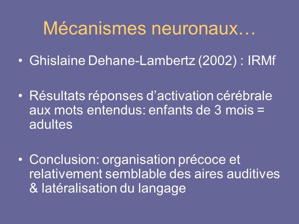 Mécanismes neuronaux… Ghislaine Dehane-Lambertz (2002) : IRMf Résultats réponses dactivation cérébrale aux mots entendus: enfants de 3 mois = adultes