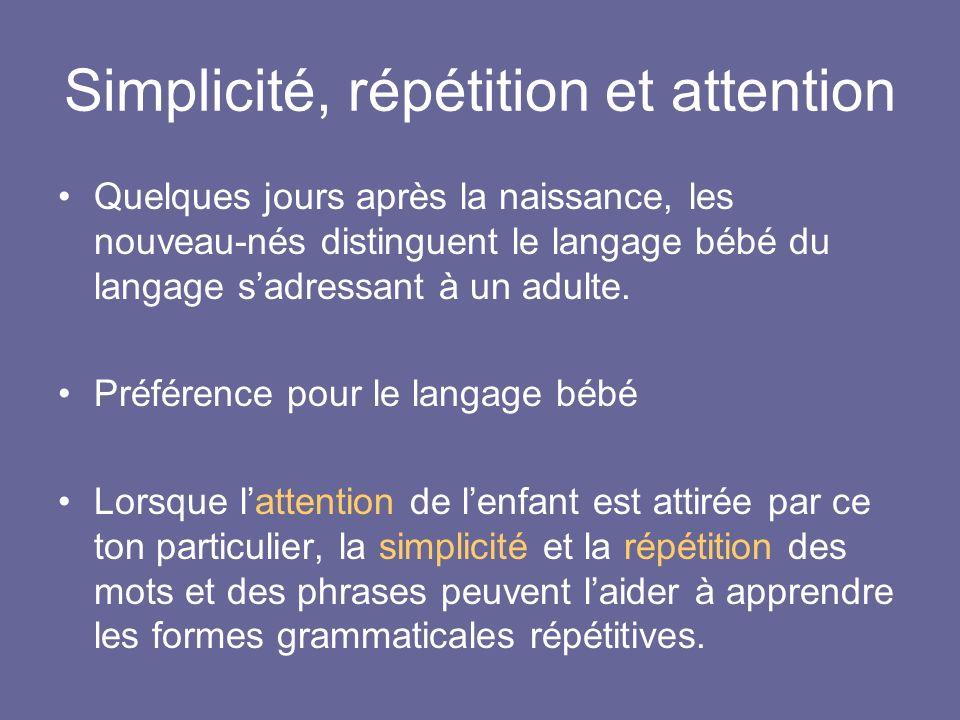 Simplicité, répétition et attention Quelques jours après la naissance, les nouveau-nés distinguent le langage bébé du langage sadressant à un adulte.