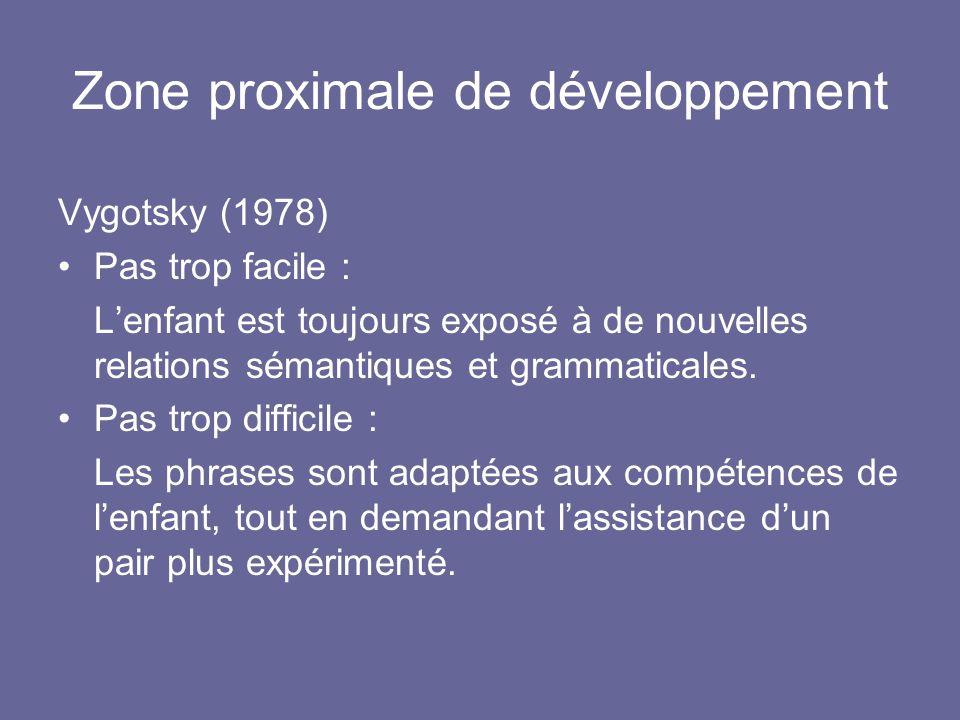 Zone proximale de développement Vygotsky (1978) Pas trop facile : Lenfant est toujours exposé à de nouvelles relations sémantiques et grammaticales. P