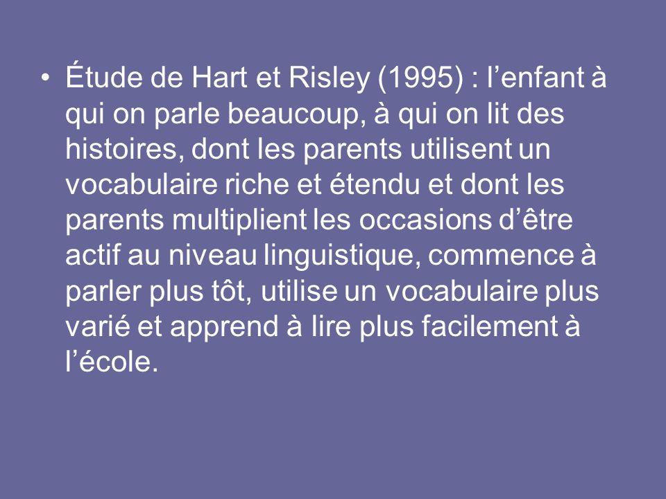 Étude de Hart et Risley (1995) : lenfant à qui on parle beaucoup, à qui on lit des histoires, dont les parents utilisent un vocabulaire riche et étend