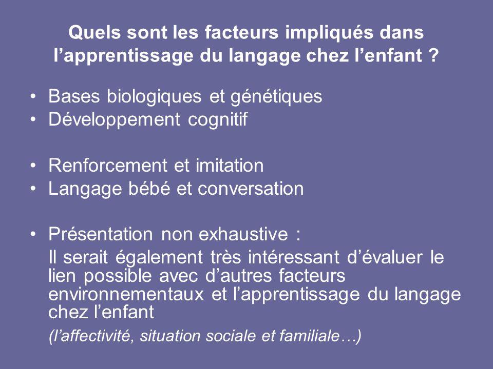 Bases biologiques et génétiques Développement cognitif Renforcement et imitation Langage bébé et conversation Présentation non exhaustive : Il serait
