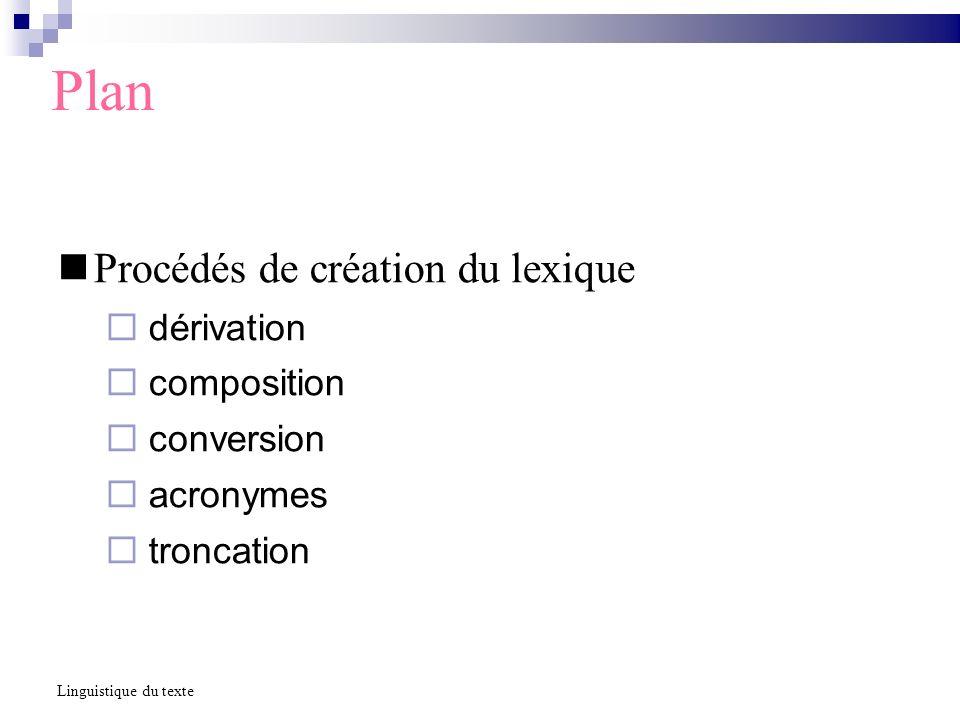 Plan Procédés de création du lexique dérivation composition conversion acronymes troncation Linguistique du texte