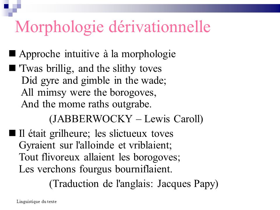 Morphologie dérivationnelle Approche intuitive à la morphologie 'Twas brillig, and the slithy toves Did gyre and gimble in the wade; All mimsy were th