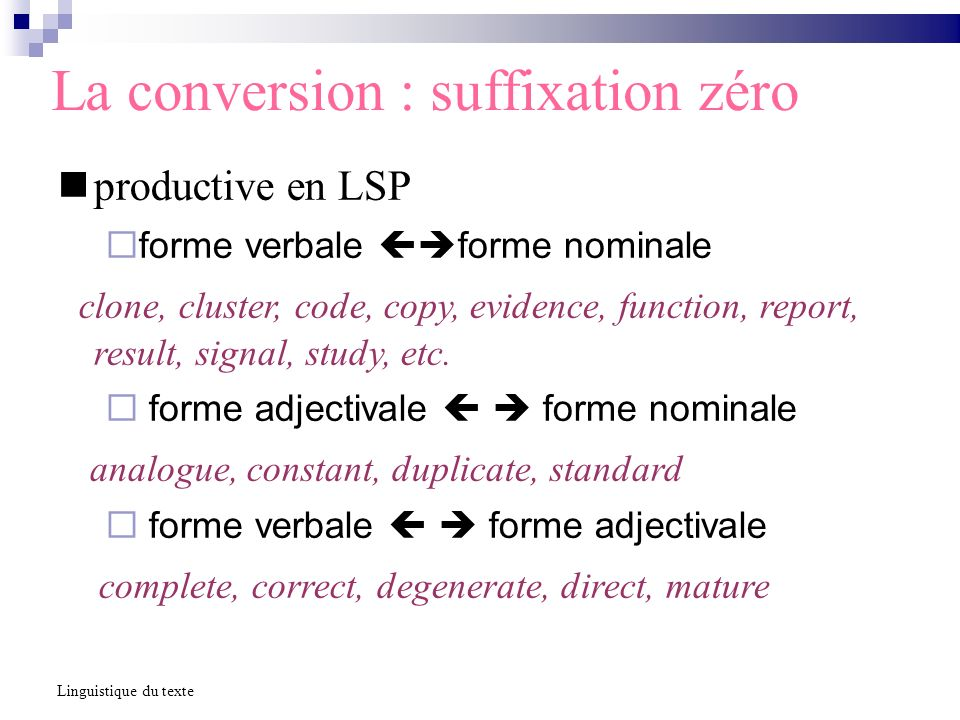 La conversion : suffixation zéro productive en LSP forme verbale forme nominale clone, cluster, code, copy, evidence, function, report, result, signal