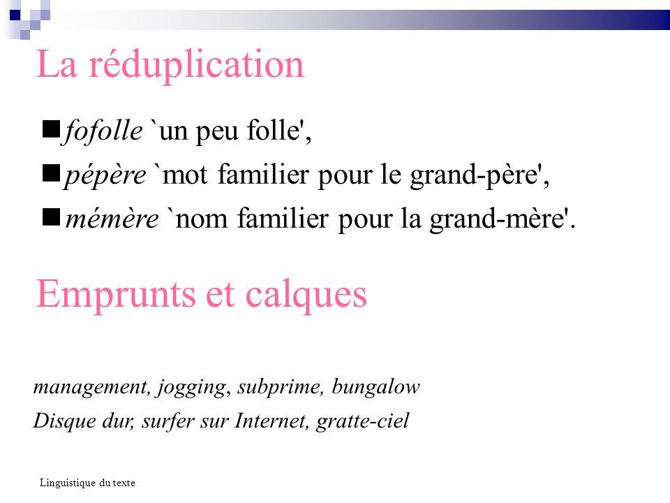 La réduplication fofolle `un peu folle', pépère `mot familier pour le grand-père', mémère `nom familier pour la grand-mère'. Linguistique du texte Emp