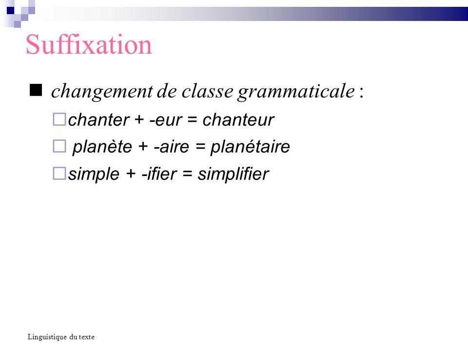 Suffixation changement de classe grammaticale : chanter + -eur = chanteur (V + -eur = N) planète + -aire = planétaire (N + -aire = A) simple + -ifier = simplifier (A + -ifier = V) suffixations impossibles *petitage, *achetien Linguistique du texte
