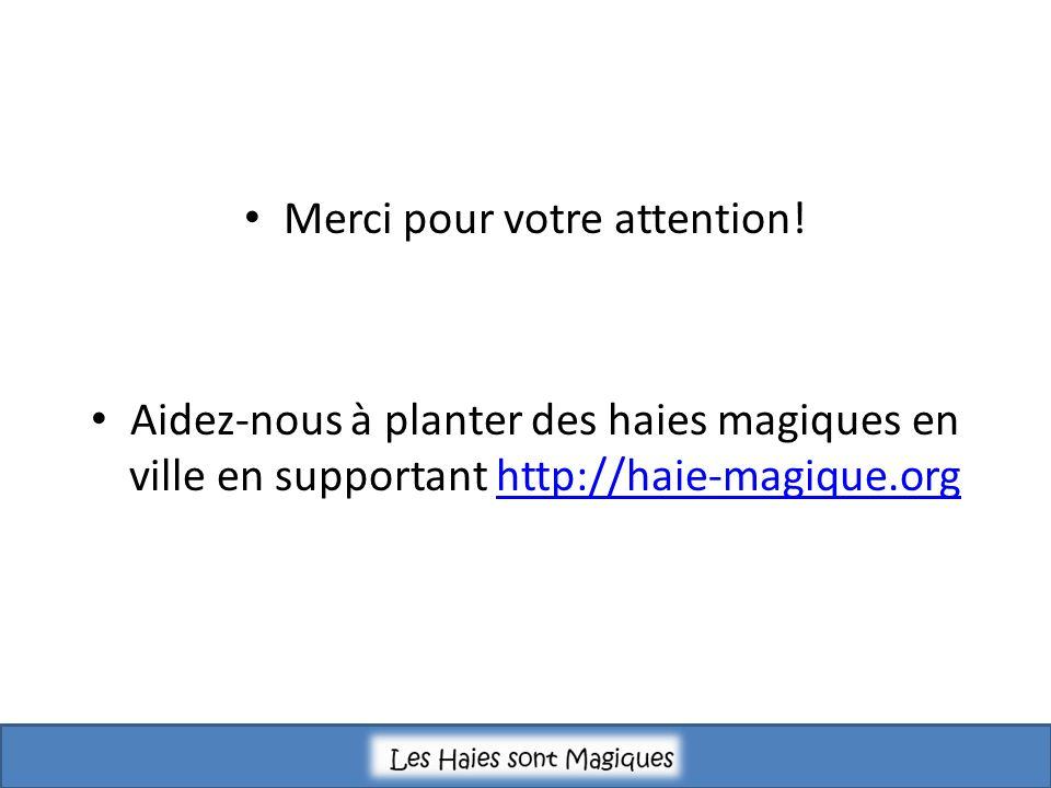 Merci pour votre attention! Aidez-nous à planter des haies magiques en ville en supportant http://haie-magique.orghttp://haie-magique.org