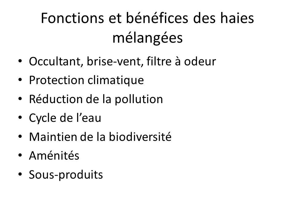 Fonctions et bénéfices des haies mélangées Occultant, brise-vent, filtre à odeur Protection climatique Réduction de la pollution Cycle de leau Maintien de la biodiversité Aménités Sous-produits
