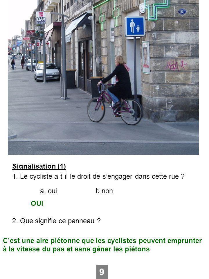 Signalisation (1) 1. Le cycliste a-t-il le droit de sengager dans cette rue ? a. ouib.non 2. Que signifie ce panneau ? 9 OUI Cest une aire piétonne qu