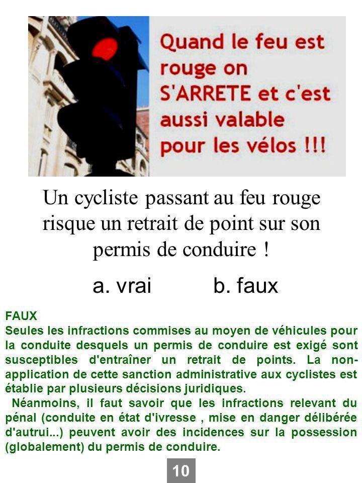 Un cycliste passant au feu rouge risque un retrait de point sur son permis de conduire ! a. vraib. faux FAUX Seules les infractions commises au moyen