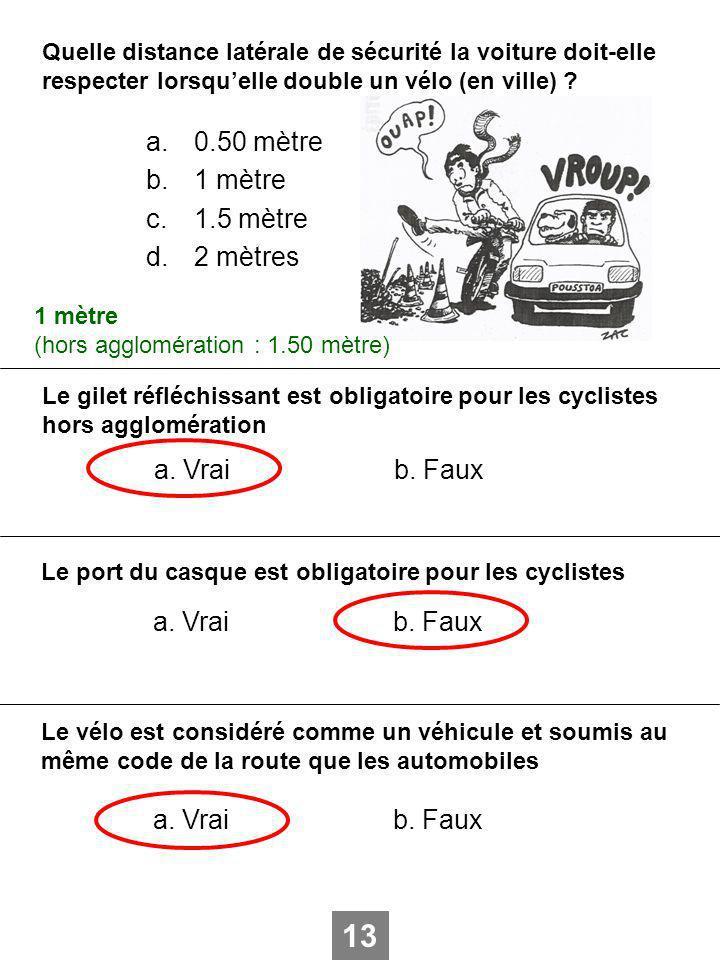 Quelle distance latérale de sécurité la voiture doit-elle respecter lorsquelle double un vélo (en ville) ? a.0.50 mètre b.1 mètre c.1.5 mètre d.2 mètr