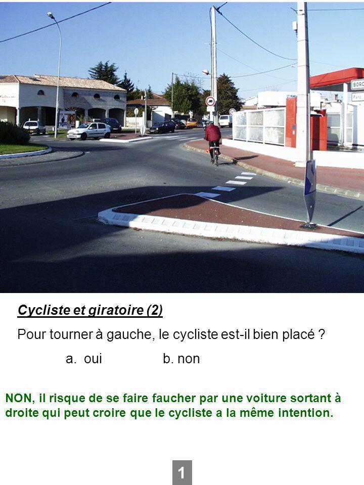 Cycliste et giratoire (2) Pour tourner à gauche, le cycliste est-il bien placé ? a.ouib. non 1 NON, il risque de se faire faucher par une voiture sort