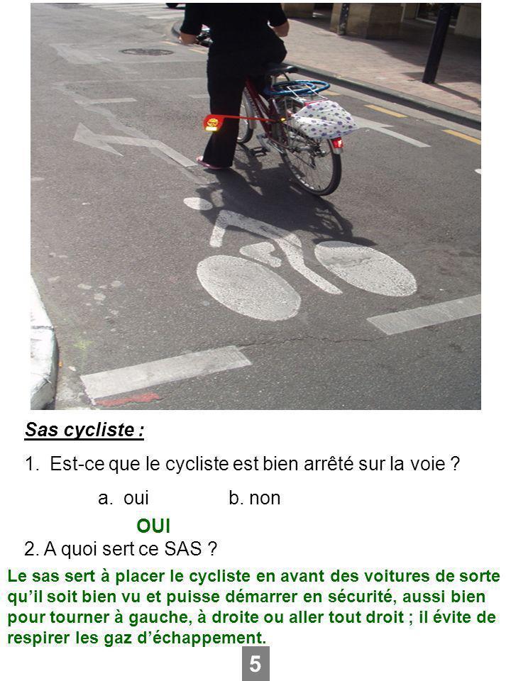 Sas cycliste : 1.Est-ce que le cycliste est bien arrêté sur la voie ? a.ouib. non 2. A quoi sert ce SAS ? 5 OUI Le sas sert à placer le cycliste en av