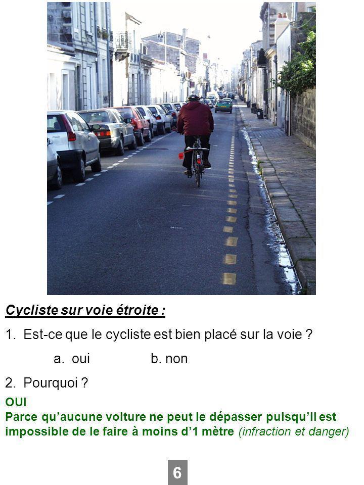 Cycliste sur voie étroite : 1.Est-ce que le cycliste est bien placé sur la voie ? a.ouib. non 2.Pourquoi ? 6 OUI Parce quaucune voiture ne peut le dép