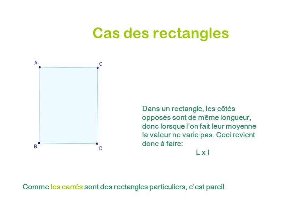 Cas des rectangles Dans un rectangle, les côtés opposés sont de même longueur, donc lorsque lon fait leur moyenne la valeur ne varie pas. Ceci revient