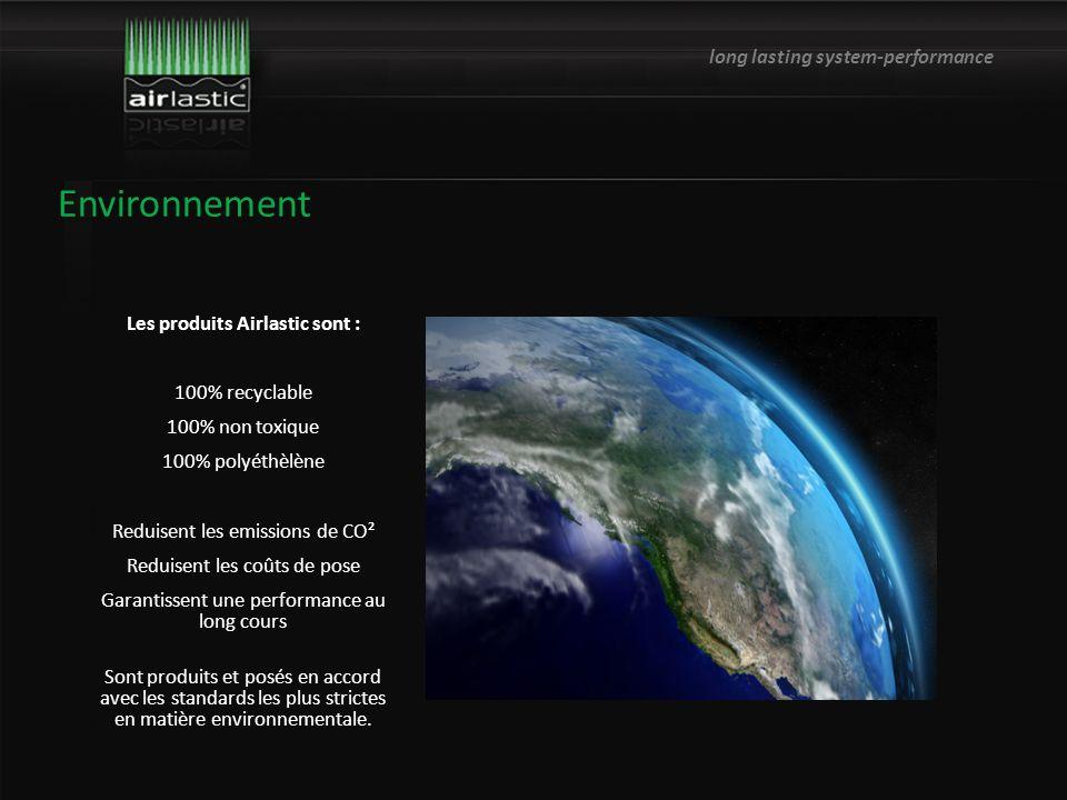 long lasting system-performance Les produits Airlastic sont : 100% recyclable 100% non toxique 100% polyéthèlène Reduisent les emissions de CO² Reduisent les coûts de pose Garantissent une performance au long cours Sont produits et posés en accord avec les standards les plus strictes en matière environnementale.