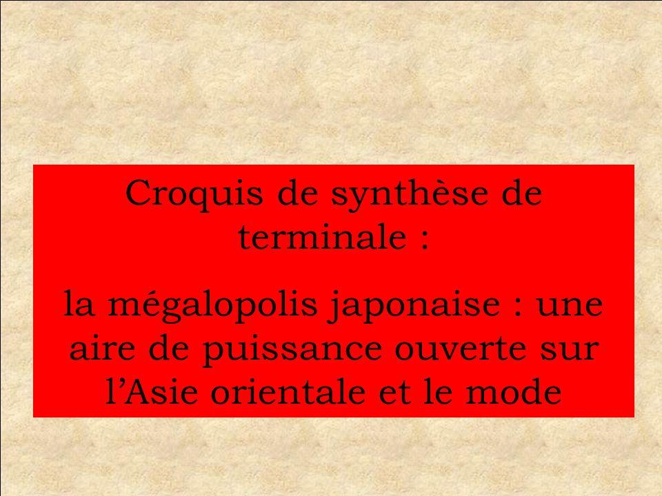 Croquis de synthèse de terminale : la mégalopolis japonaise : une aire de puissance ouverte sur lAsie orientale et le mode
