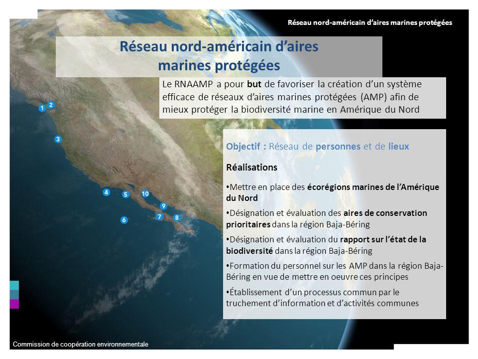 Commission de coopération environnementale Réseau nord-américain daires marines protégées Objectif : Réseau de personnes et de lieux Réalisations Mett