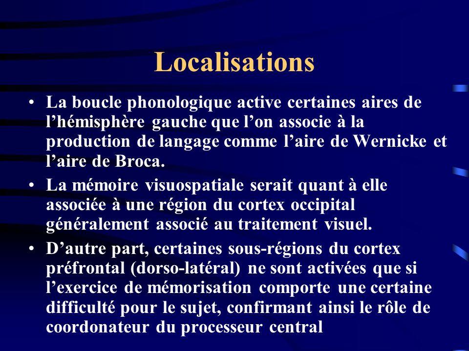 Localisations La boucle phonologique active certaines aires de lhémisphère gauche que lon associe à la production de langage comme laire de Wernicke e
