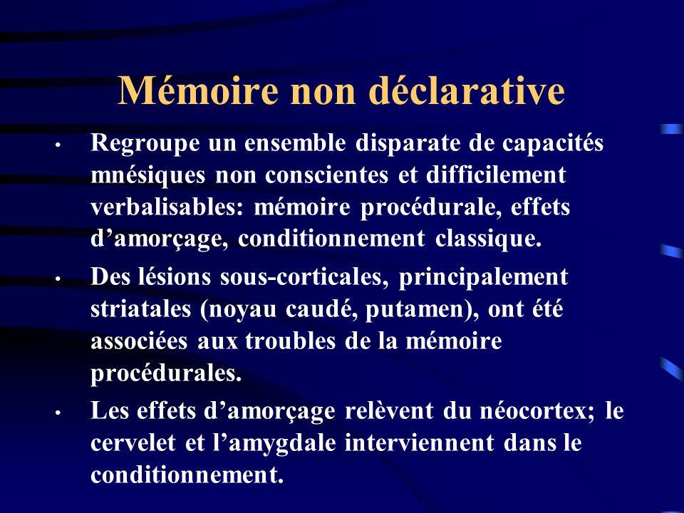 Mémoire non déclarative Regroupe un ensemble disparate de capacités mnésiques non conscientes et difficilement verbalisables: mémoire procédurale, eff