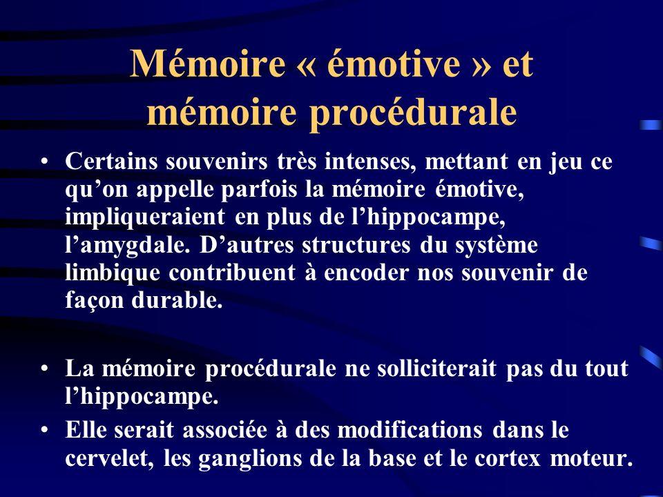 Mémoire « émotive » et mémoire procédurale Certains souvenirs très intenses, mettant en jeu ce quon appelle parfois la mémoire émotive, impliqueraient