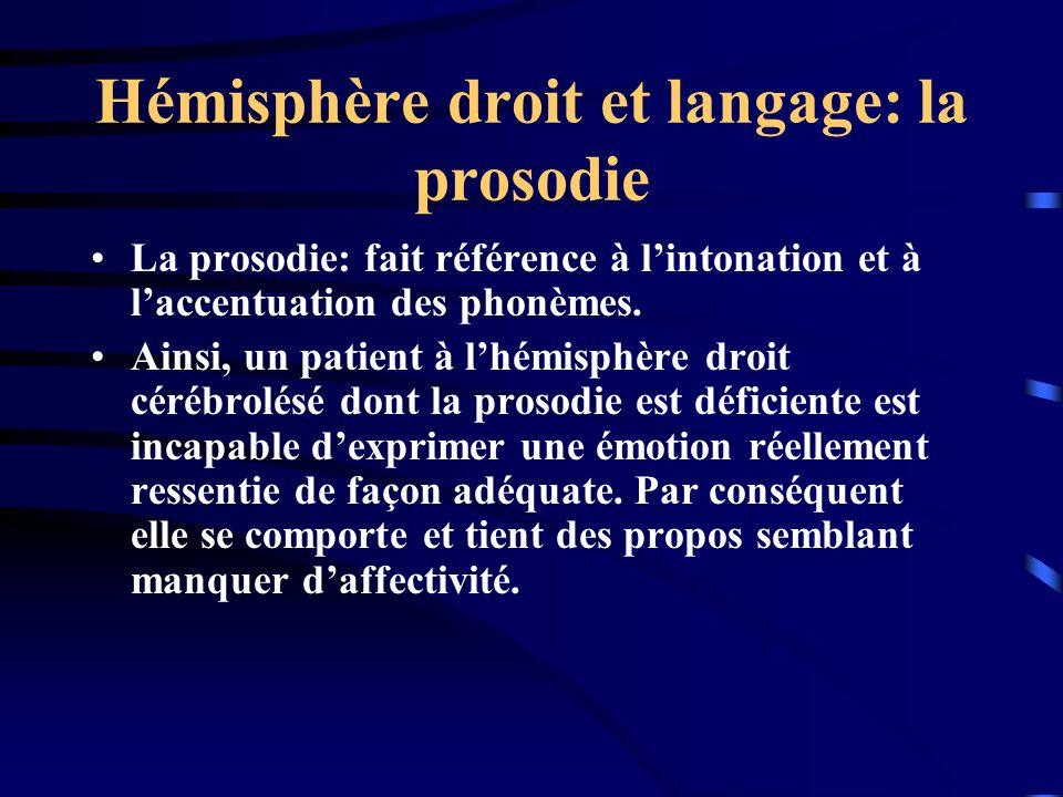 Hémisphère droit et langage: la prosodie La prosodie: fait référence à lintonation et à laccentuation des phonèmes. Ainsi, un patient à lhémisphère dr