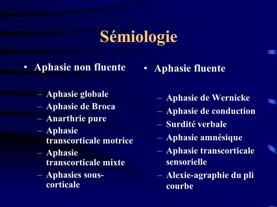 Sémiologie Aphasie non fluente –Aphasie globale –Aphasie de Broca –Anarthrie pure –Aphasie transcorticale motrice –Aphasie transcorticale mixte –Aphas