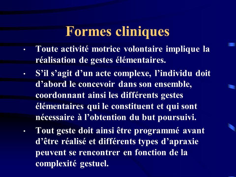 Formes cliniques Toute activité motrice volontaire implique la réalisation de gestes élémentaires. Sil sagit dun acte complexe, lindividu doit dabord