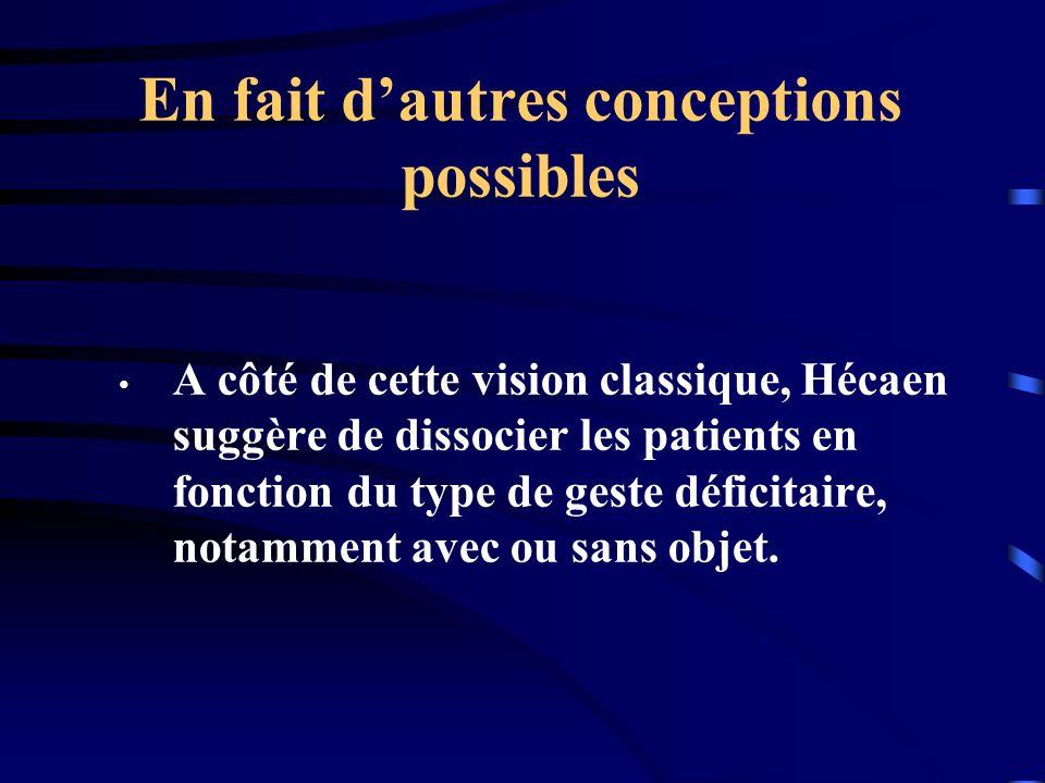 En fait dautres conceptions possibles A côté de cette vision classique, Hécaen suggère de dissocier les patients en fonction du type de geste déficita