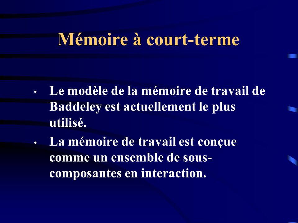 Mémoire à court-terme Le modèle de la mémoire de travail de Baddeley est actuellement le plus utilisé. La mémoire de travail est conçue comme un ensem