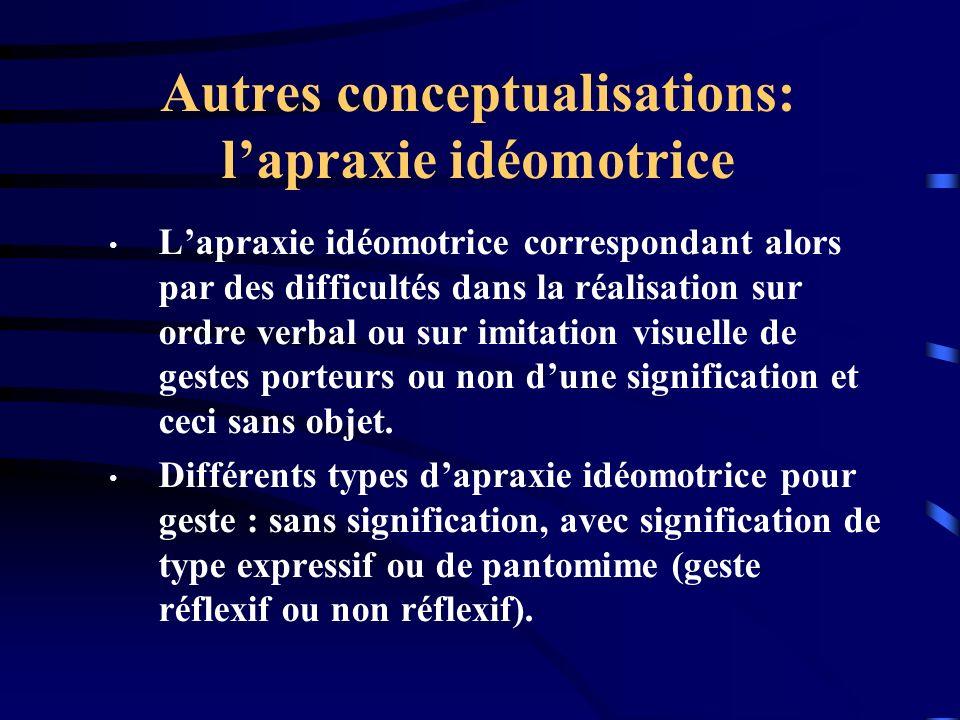 Autres conceptualisations: lapraxie idéomotrice Lapraxie idéomotrice correspondant alors par des difficultés dans la réalisation sur ordre verbal ou s
