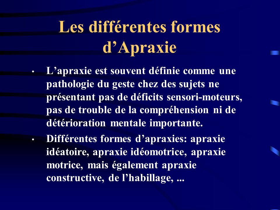 Les différentes formes dApraxie Lapraxie est souvent définie comme une pathologie du geste chez des sujets ne présentant pas de déficits sensori-moteu