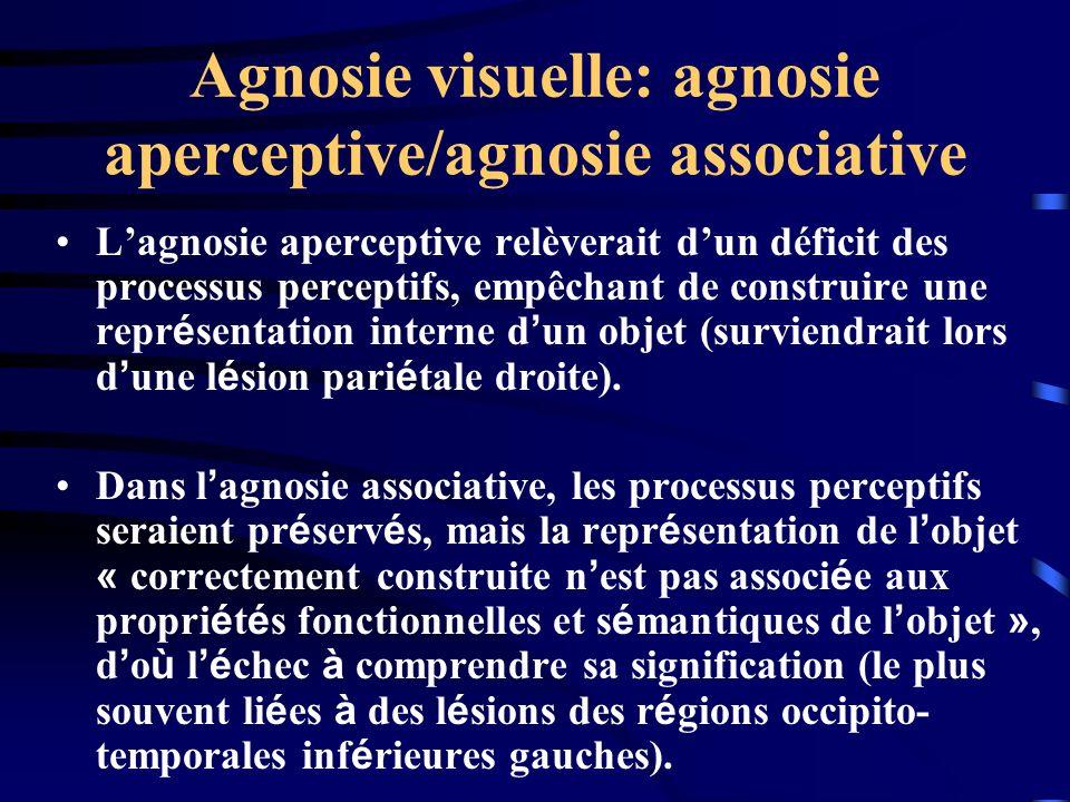 Agnosie visuelle: agnosie aperceptive/agnosie associative Lagnosie aperceptive relèverait dun déficit des processus perceptifs, empêchant de construir